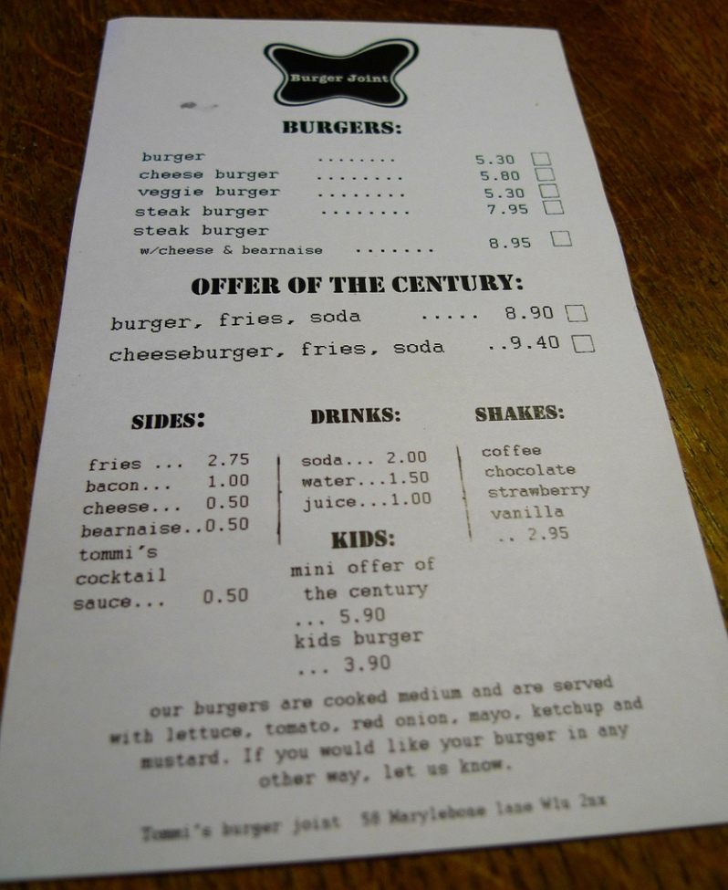 This is not a picture of the Berlin menu. However, the prices are more or less the same. The Berlin menu an be viewed at http://burgerjoint.de/. Photo via FlickrCC.