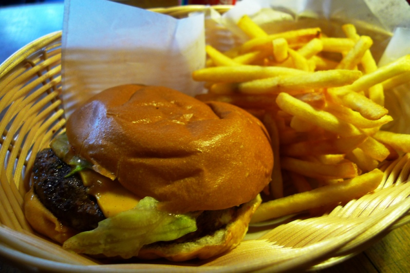 I don't have a picture of the veggie burger. Sniff. But here is a picture of the delicious cheeseburger. Photo via FlickrCC.