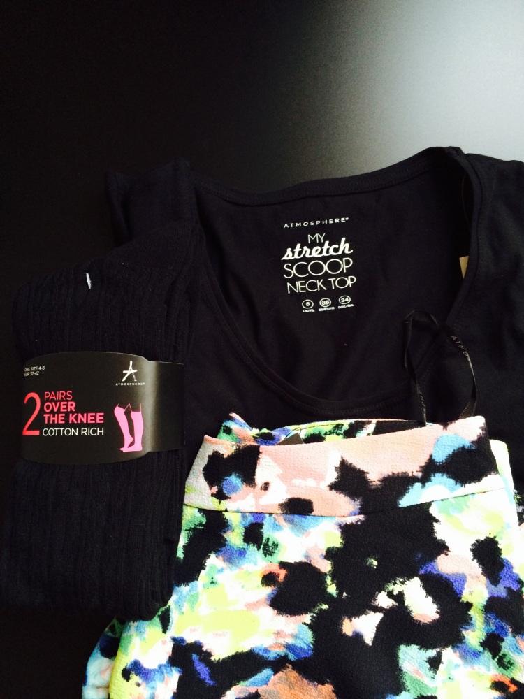 All Primark/Penneys: 2-pack knee high stockings - €3 / Black long sleeved top - €4 / Skirt - €9
