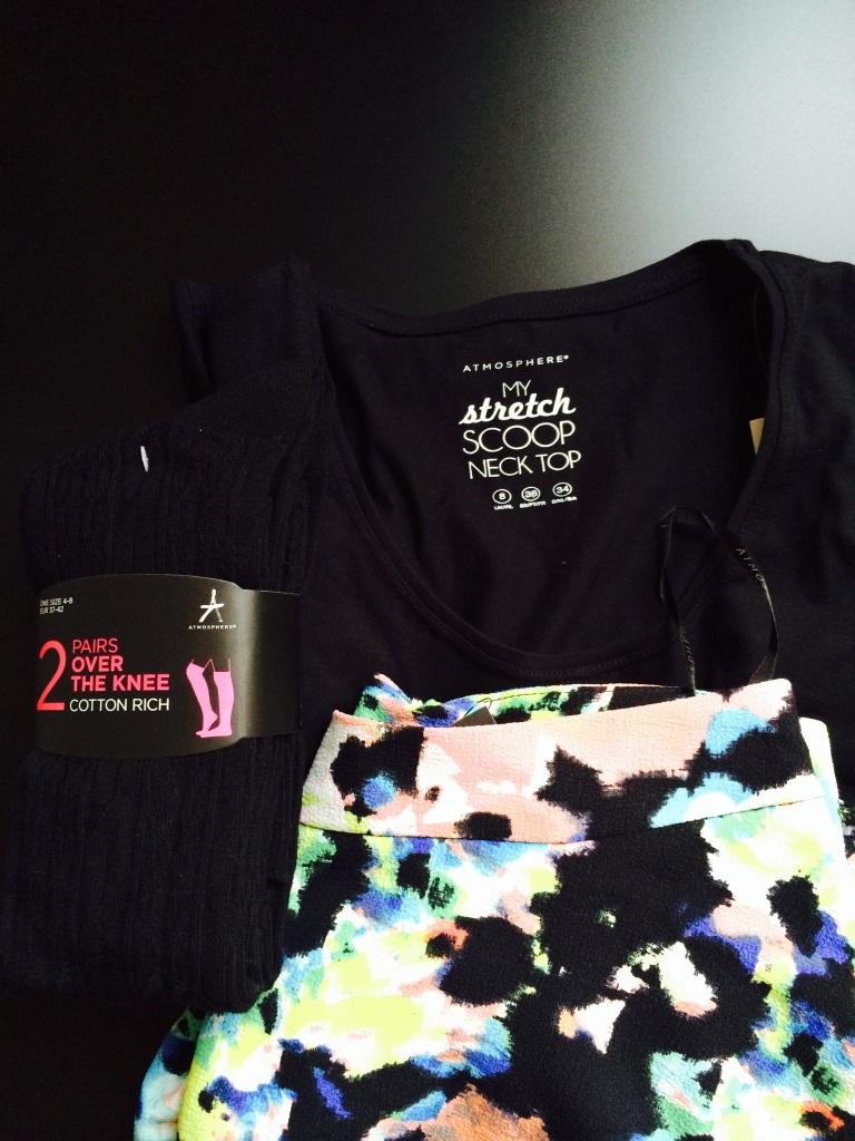 All Primark/Penneys: 2-pack knee high stockings - €3 / Black long sleeved top - €4 / Skirt - €9