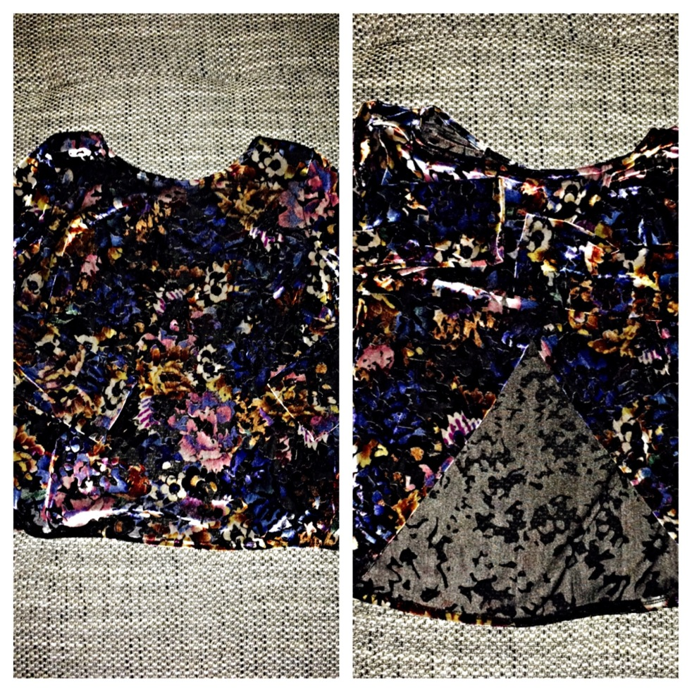 Velvet floral top with open back - Topshop - €20