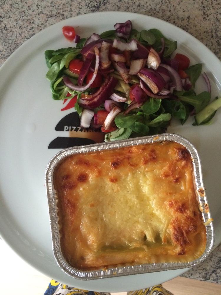 Salmon lasagne and mixed salad.