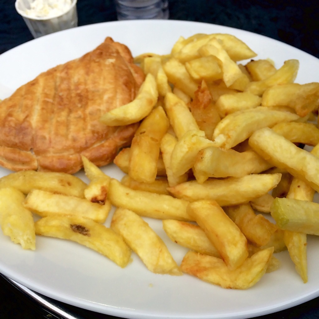 Vegetable Cornish pasty and chips