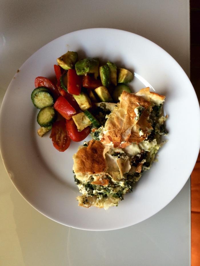 Mixed salad and spinach and feta borek