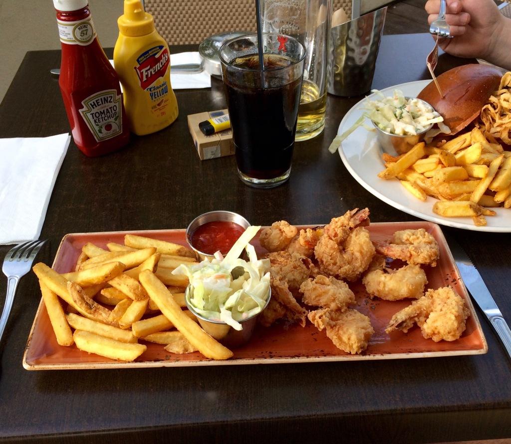 Battered shrimp at the Hard Rock Cafe