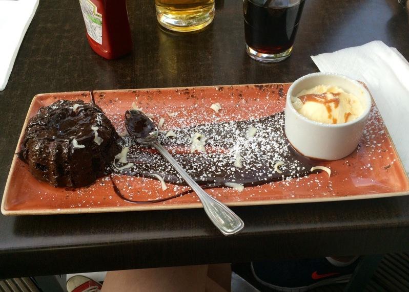 Chocolate volcano cake at the Hard Rock Cafe