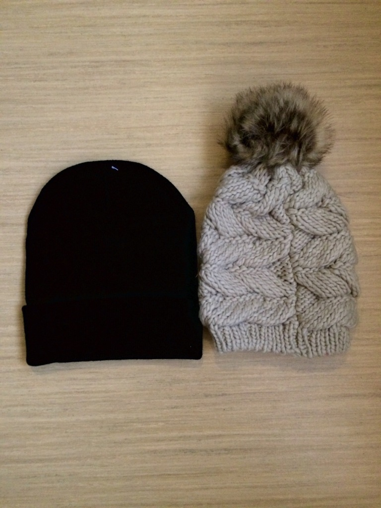 Black Beanie and Cream Bobble Hat