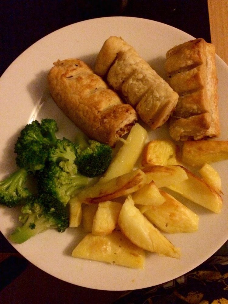 Vegetarian sausage rolls, low fat oven chips and brocolli