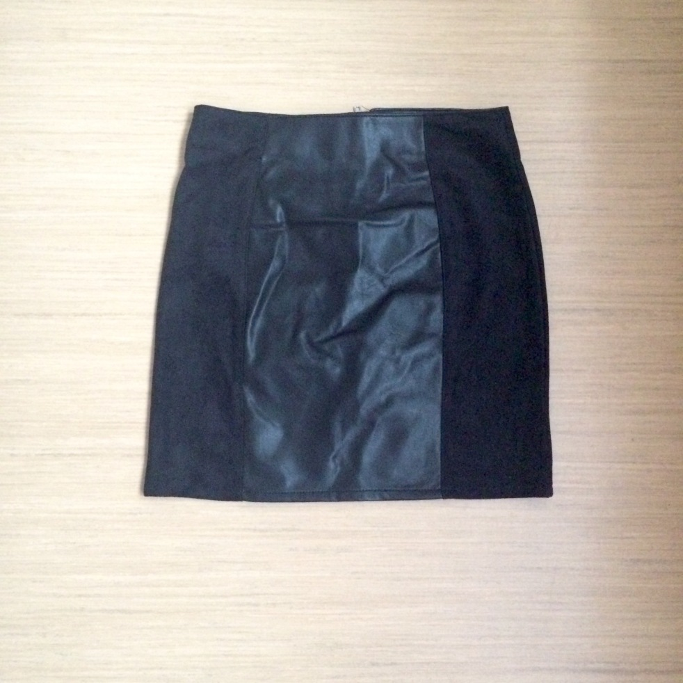 Black Faux Suede and Leather Skirt